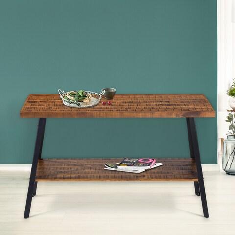 Sleeplanner Rustic Sofa Table, Steel Legs&Natural Wood Top, Brown