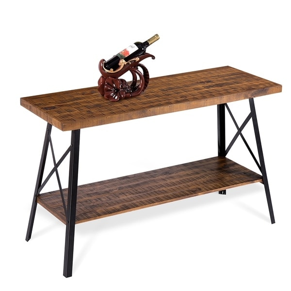 Rustic Sofa Tables For Sale: Shop Sleeplanner Rustic Sofa Table, Steel Legs&Natural