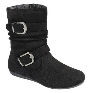 Forever FP62 Side Zipper Flat Heel Slouchy Ankle Booties