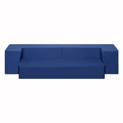 Sleeplanner 8-inch Memory Foam Folding Mattress Guest Bed Floor Sofa, Dark blue