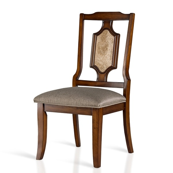Gracewood Hollow Kikic Armless Wood Dining Chair with Brown Marble Inlay