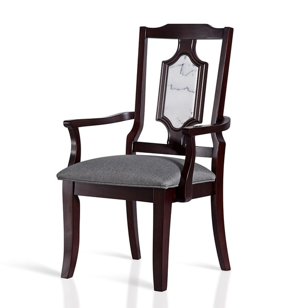 Gracewood Hollow Kikic Wood Dining Chair with White Marble Inlay