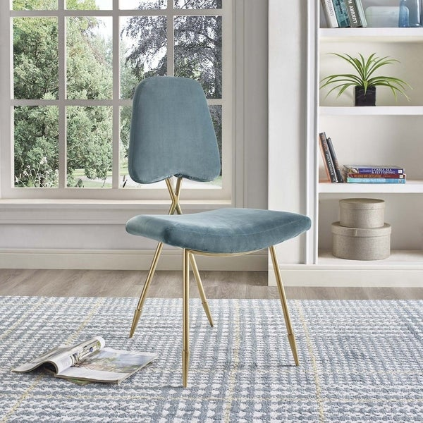 Modway Ponder Velvet Upholstered Modern Dining Side Chair in Gray with Gold Legs