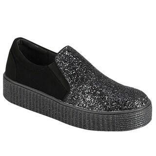 Forever FP63 Glittering Slip On Elastic Goring Street Sneakers