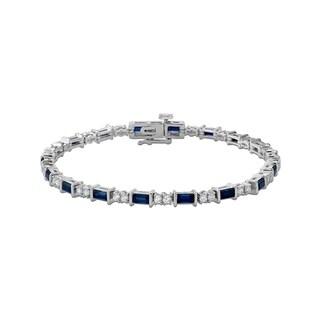 10K White Gold 1 1/4ct White Diamond and 3 5/8ct Blue Sapphire Tennis Bracelet (G-H, I1-I2)