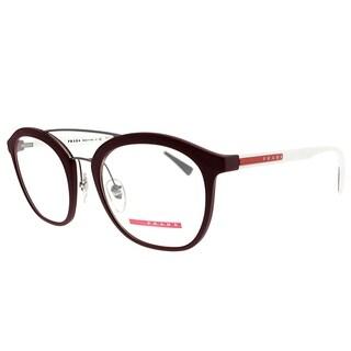 Prada Linea Rossa Square PS 02HV U601O1 Unisex Bordeaux Rubber Frame Eyeglasses