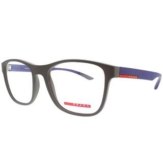 Prada Linea Rossa Rectangle PS 08GV UR61O1 Unisex Brown Blue Rubber Frame Eyeglasses