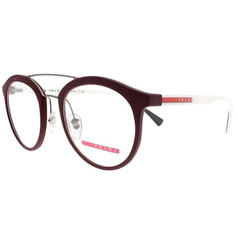 Prada Linea Rossa Round PS 01HV U601O1 Unisex Bordeaux Rubber Frame Eyeglasses