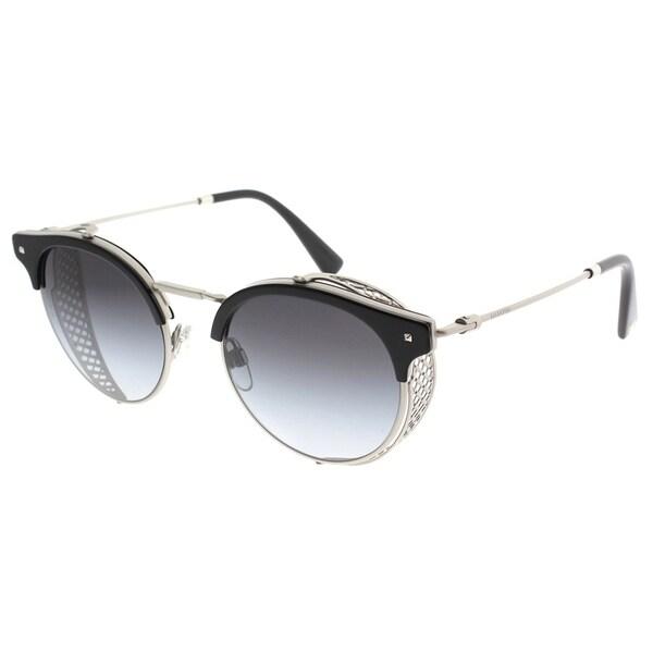 965172c186 Valentino Round VA 2008Z 30158G Womens Matte Silver Frame Grey Gradient  Lens Sunglasses