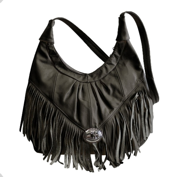 Shop AFONiE Fringe Soft Leather Hobo Handbag - On Sale - Free ... 9b664b71a4