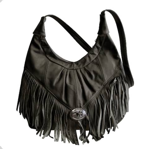 AFONiE Fringe Soft Leather Hobo Handbag