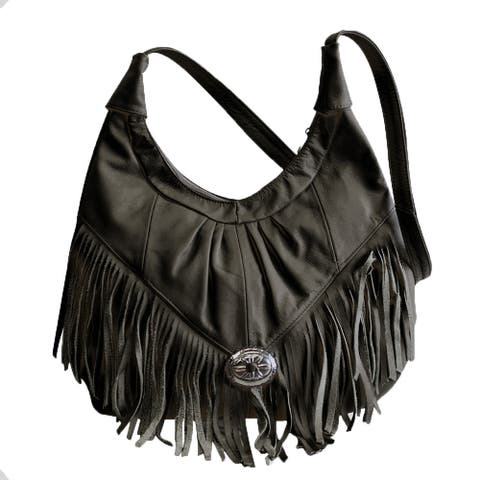 AFONiE Fringe Soft Leather Hobo Handbag