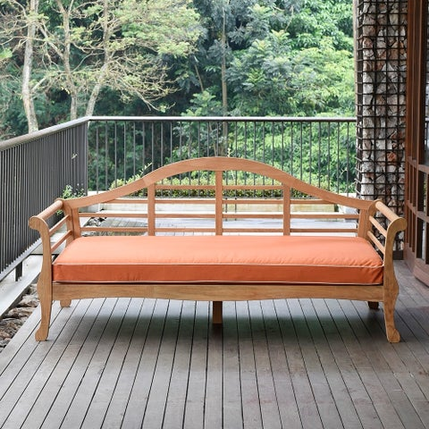 Cambridge Casual Teak Lutyens Daybed with seat cushion, Orange