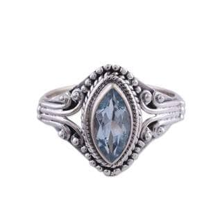 Handmade Sterling Silver 'Morning Luxury' Blue Topaz Ring (India)