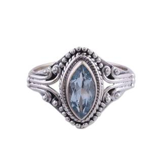 Handmade Sterling Silver 'Morning Luxury' Blue Topaz Ring (India) (More options available)