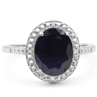 4ct TGW Oval Shape Sapphire and Halo Diamond Ring In Sterling Silver - Blue