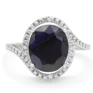 5 1/2ct TGW Oval Shape Sapphire and Halo Diamond Ring In Sterling Silver - Blue