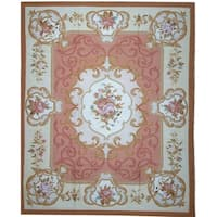 Pasargad Aubusson Ivory/Rose Floral Handmade Wool Rug - 8'1 x 9'11
