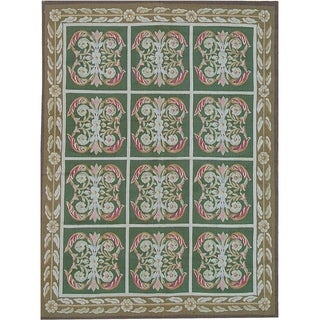 """Pasargad Aubusson Hand-Woven New Zealand Wool Rug (7' 6"""" X 10' 7"""") - 8' x 10'"""