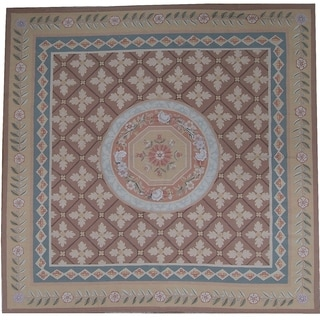 "Pasargad Aubusson Hand-Woven New Zealand Wool Rug (9'11"" X 10' 1"") - 10' x 10'"