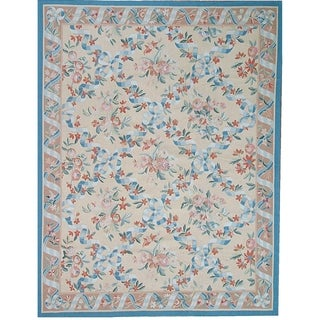 """Aubusson Hand-Woven Ivory New Zealand Wool Area Rug (7'10"""" X 10' 2"""") - 8' x 10'"""