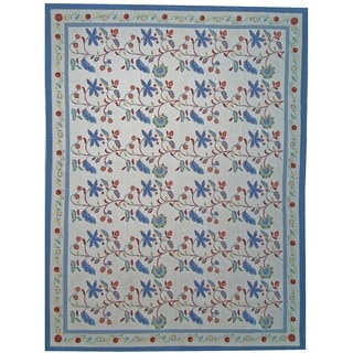 """Pasargad Aubusson Hand-Woven New Zealand Wool Rug (9' 0"""" X 12' 1"""") - 9' x 12'"""