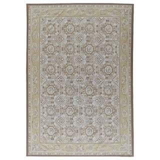 """Aubusson Hand-Woven Ivory New Zealand Wool Area Rug (9'10"""" X 14' 1"""") - 10' x 14'"""