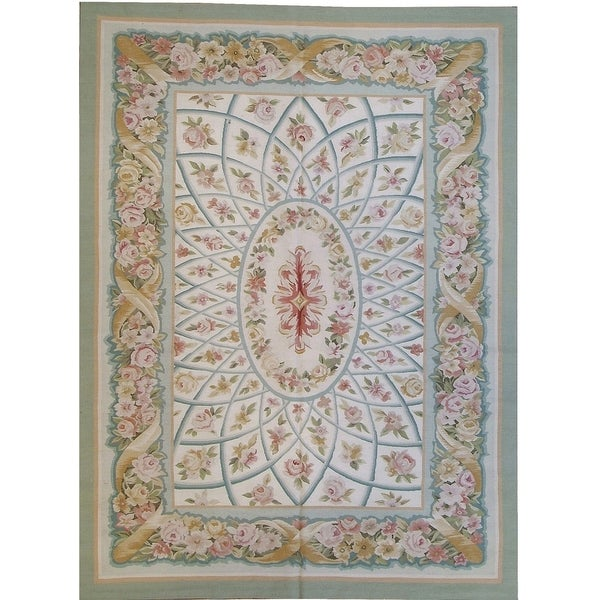 "Pasargad Aubusson Hand-Woven New Zealand Wool Rug (8' 1"" X 9' 9"") - 8' x 10'"