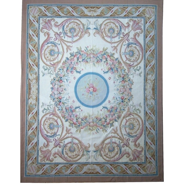 """Pasargad Aubusson Hand-Woven New Zealand Wool Rug (8' 0"""" X 10' 3"""") - Multi - 8' x 10'"""