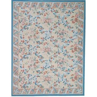 "Aubusson Hand-Woven New Zealand Wool Area Rug (9' 6"" X 12' 7"") - 10' x 14'"