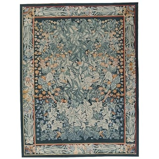 "Aubusson Green Hand-Woven New Zealand Wool Rug (9' 1"" X 11'10"") - 9' x 12'"