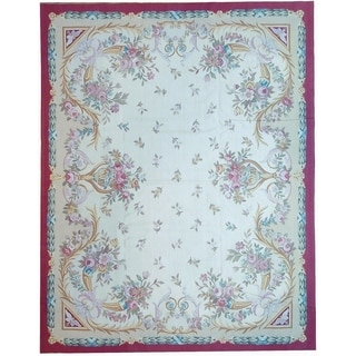 """Aubusson Ivory Hand-Woven New Zealand Wool Area Rug (11' 9"""" X 17'11"""") - 12' x 18'"""