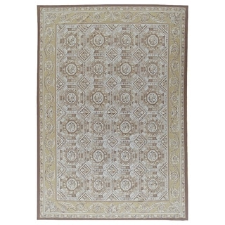 """Pasargad Ivory Aubusson Hand-Woven Wool Area Rug (8'11"""" X 11'10"""") - 9' x 12'"""