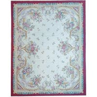 Pasargad Aubusson Ivory New Zealand Wool Handmade Rug - 7'10 x 10'
