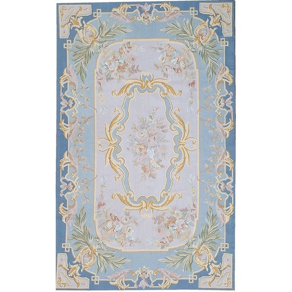 """Pasargad Aubusson Hand-Woven New Zealand Wool Rug (5' 0"""" X 8' 0"""") - 5' x 8'"""