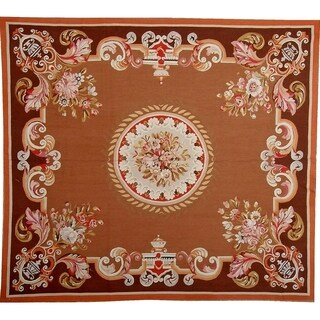 "Pasargad Aubusson Hand-Woven Brown Wool Area Rug (5' 9"" X 6' 8"")"