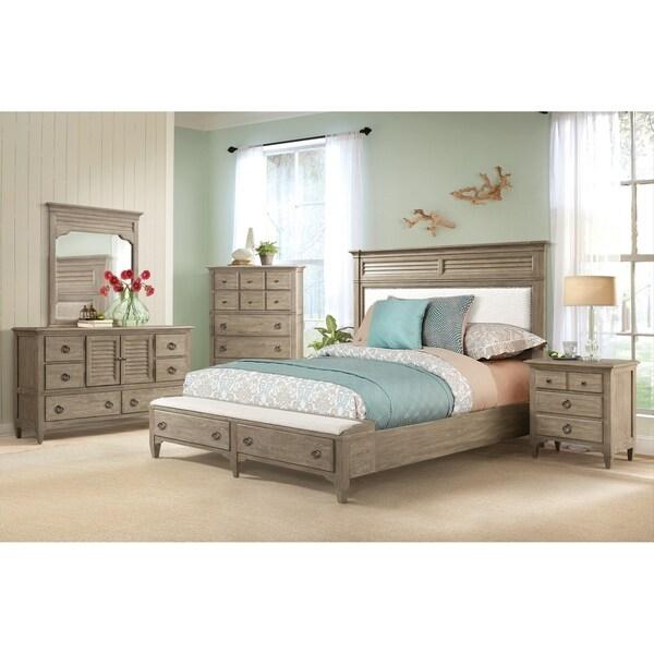 Roubai Contemporary Grey Finish 6-Piece Bedroom Set-Queen Bed, Dresser, Mirror, 2 Nightstands, Chest