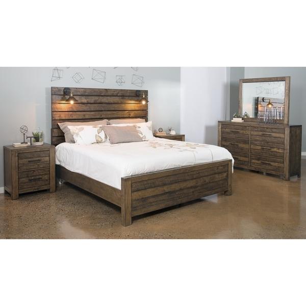 Dajono Rustic Brown Finish 5 Piece Bedroom Set King Bed Dresser Mirror