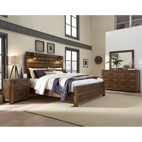 Dajono Rustic Brown Finish 4-Piece Bedroom Set-King Bed, Dresser, Mirror and Nightstand