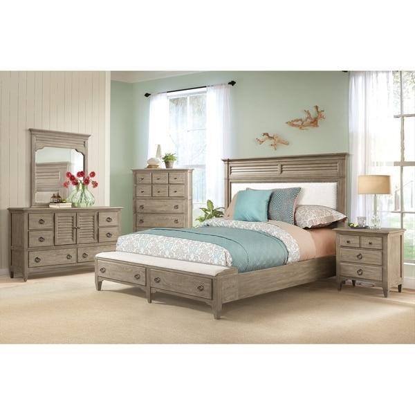 Roubai Contemporary Grey Finish 5-Piece Bedroom Set-King Bed, Dresser, Mirror, Nightstand, Chest