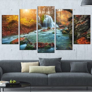 Fast Flowing Fall River in Forest' Landscape Photography Wall Art (As Is Item)