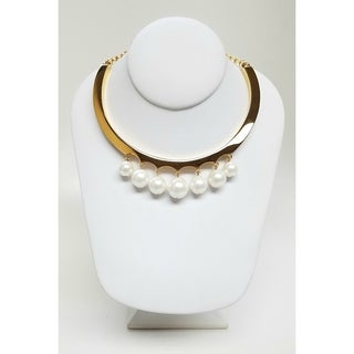 Kenneth Jay Lane Polished Gold with 7 White Shell Pearl Drop Collar Necklace