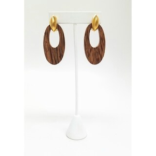 Kenneth Jay Lane Satin Gold with Wood Door Knocker Clip On Earring