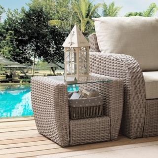 Crosley Furniture St. Augustine Weathered White Wicker Outdoor Side Table