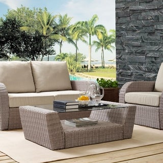 St Augustine Outdoor Wicker Coffee Table In Weathered White