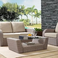 Crosley Furniture St Augustine Weathered White Wicker Outdoor Coffee Table