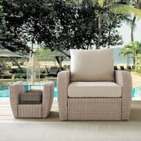 Crosley Furniture St. Augustine Weathered White Outdoor Wicker Armchair