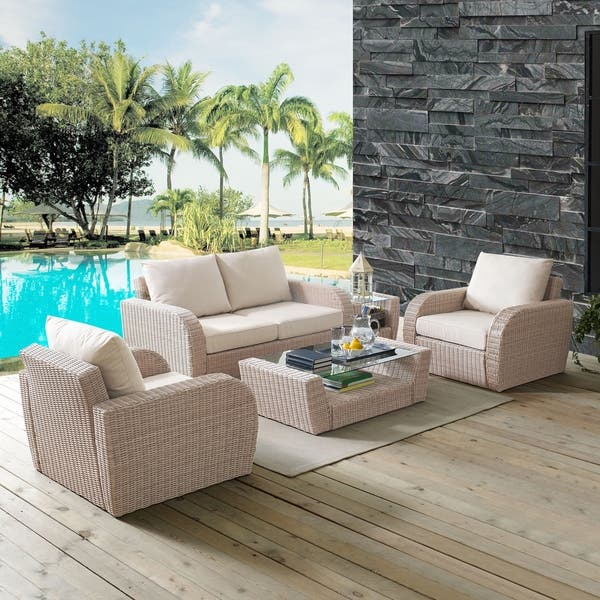 St Augustine 5 Pc Outdoor Wicker Seating Set With