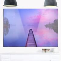 Jetty in a Dawn Lake - Wooden Sea Bridge Glossy Metal Wall Art