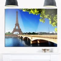 Bridge to Paris Eiffel Tower Paris - Cityscape Glossy Metal Wall Art